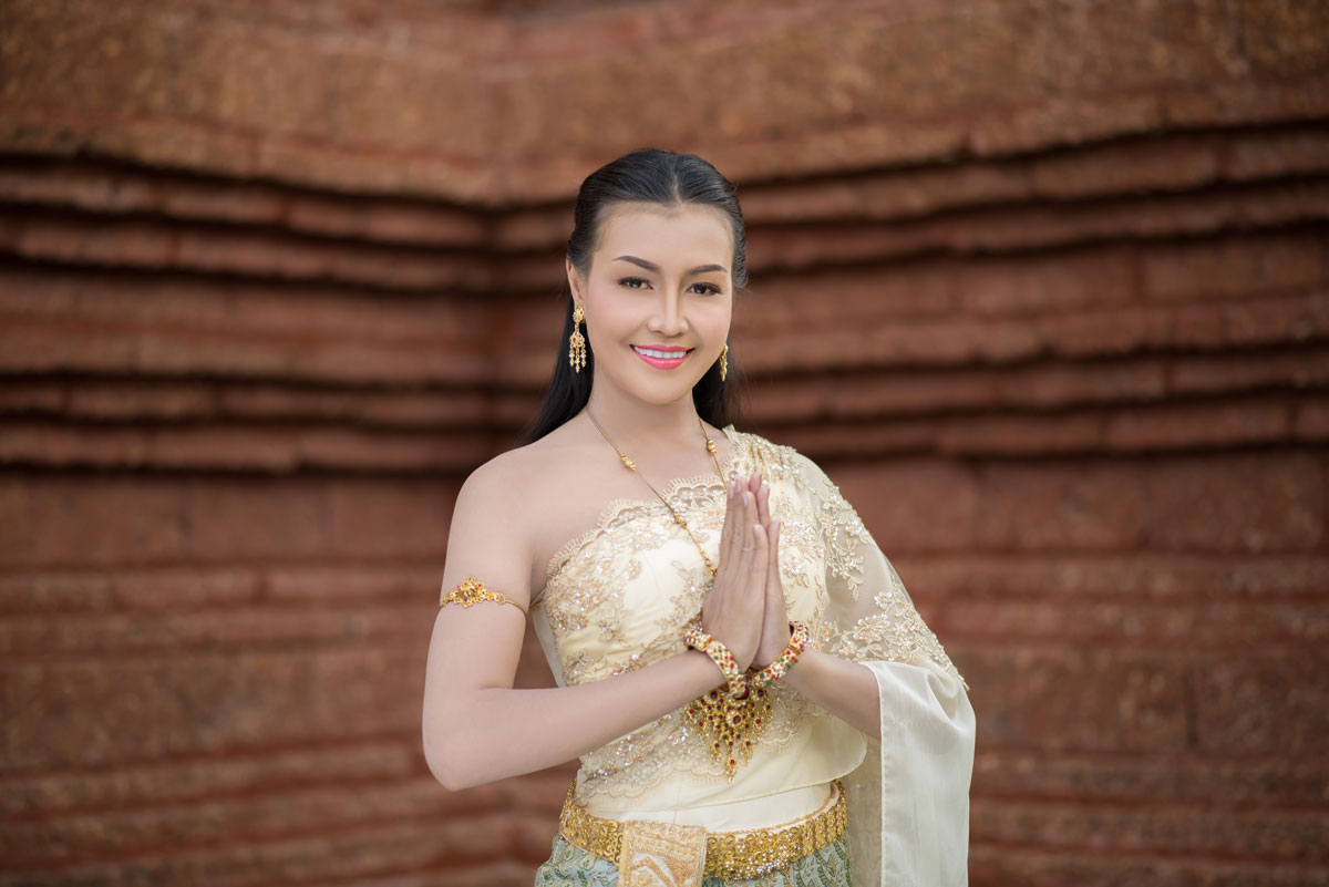 beautiful thai woman wearing typical dress