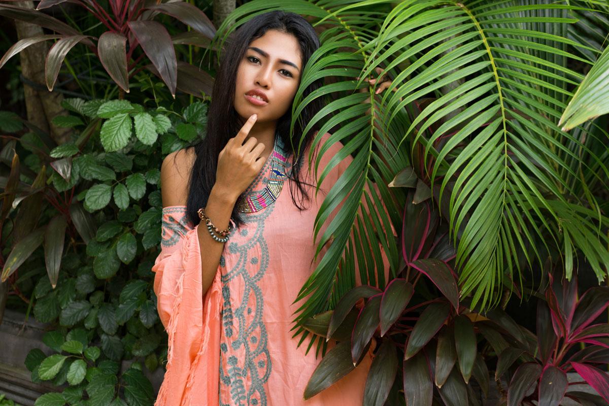 Thai woman model boho dress with green palm